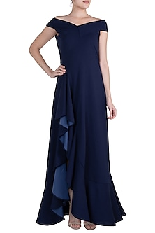Navy Blue Bardot Ruffle Maxi Dress by Etre