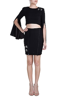 Black Embellished Co-ordinate Skirt Set by Etre