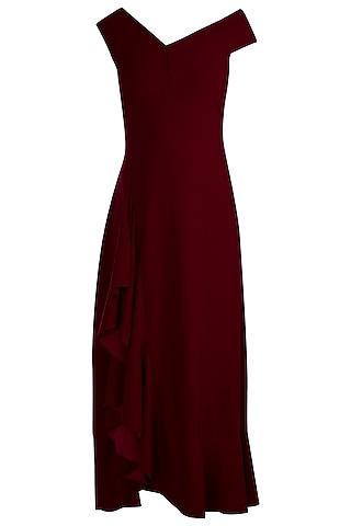 Deep Maroon Bardot Ruffle Maxi Dress by Etre