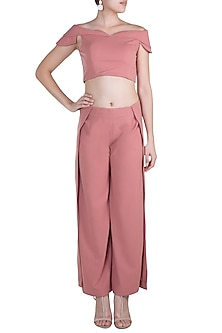 Rose Pink Off Shoulder Co-ordinate Set by Etre