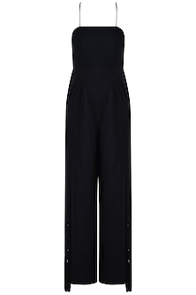Black Cross Straps Jumpsuit by Etre