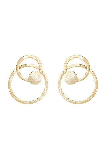 Gold Finish Circular Cardboard Hoop Earrings by Eurumme Jewellery