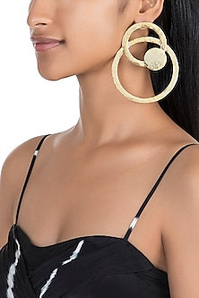 Gold Finish Circular Cardboard Hoop Earrings by Eurumme Jewellery