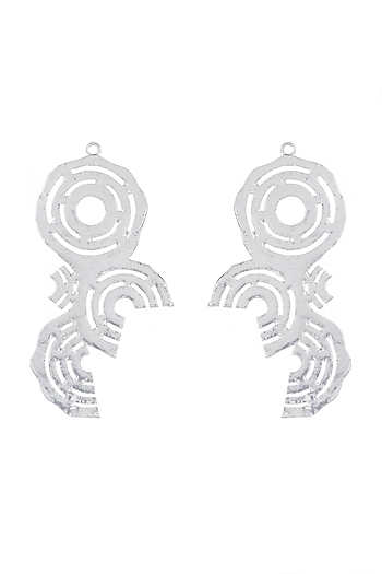 Silver Finish Recycle Cardboard Concentric Earrings by Eurumme Jewellery