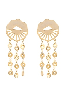 Gold Finish Disc Earrings by Eurumme Jewellery