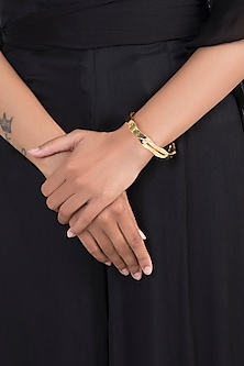 Gold Finish Narrow Stackable Handcrafted Bangle by Eurumme Jewellery