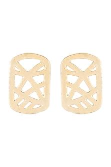 Gold Finish Cardboard Stud Earrings by Eurumme Jewellery