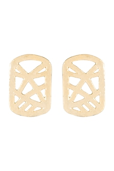 Gold Finish Cardboard Stud Earrings by Eurumme Jewellery