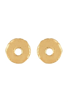 Gold Finish Cardboard Button Stud Earrings by Eurumme Jewellery