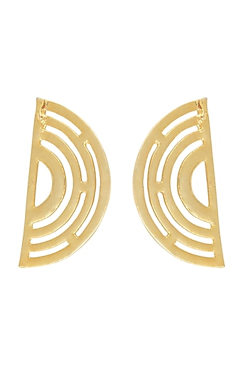 Gold Finish Concentric Detailed Ear Cuffs by Eurumme Jewellery
