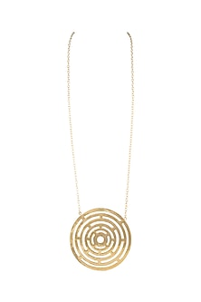 Gold Finish Concentric Circular Disc Pendant Necklace by Eurumme Jewellery