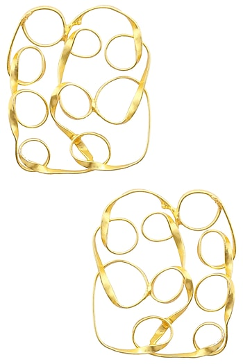 Gold finish Mesh Cushion studs by Eurumme Jewellery