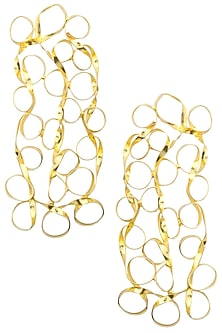 Gold finish Mesh Drop earrings by Eurumme Jewellery