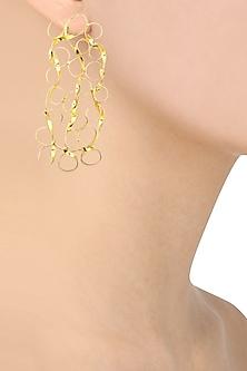 Gold finish Mesh Drop earrings by Eurumme Jewellery