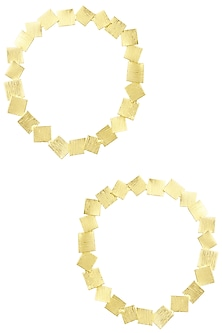 Gold Plated Square Hoop Earrings by Eurumme Jewellery