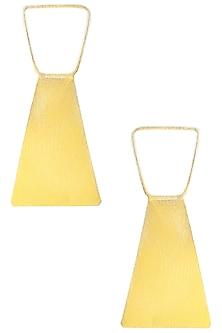Gold Plated Geometric Pattern Earrings by Eurumme Jewellery