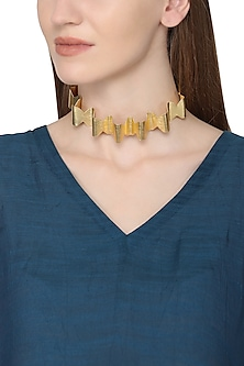 Gold Plated Swirl Pattern Choker Necklace by Eurumme Jewellery