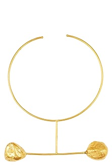 Gold Finish Geometric Neckpiece by Eurumme Jewellery