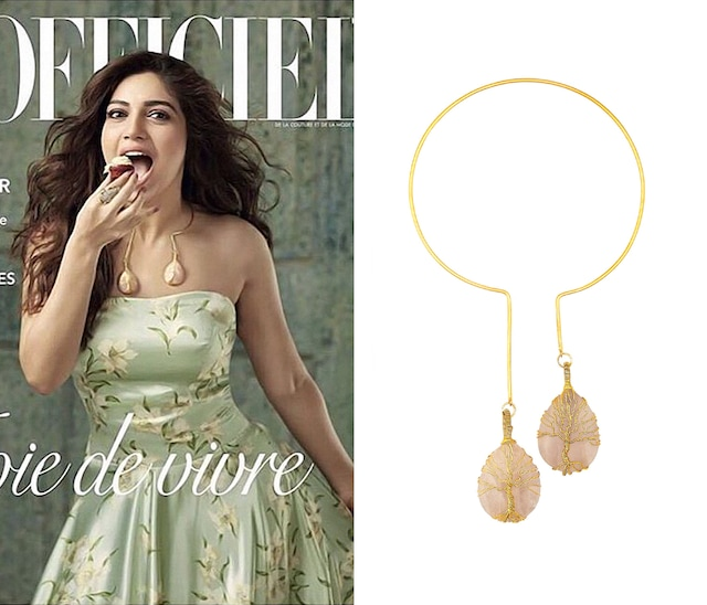 Gold Finish Pink Stone Circular necklace by Eurumme Jewellery