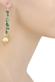 Gold Finish Green Onynx Stone Earrings by Eurumme Jewellery