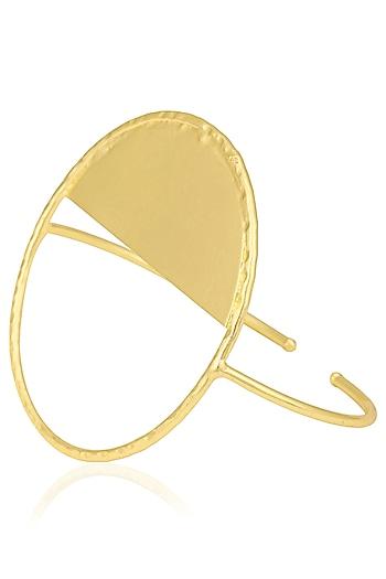 Gold Finish Circular Palm Cuff by Eurumme Jewellery