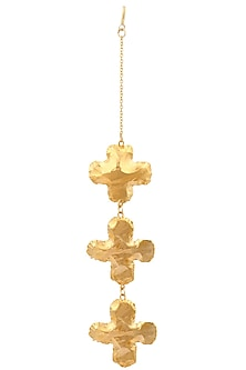 Gold Plated Three Golden Flower Agates Maang Tikka by Eurumme Jewellery