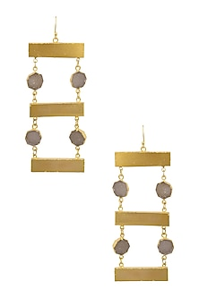 Gold Finish Ladder Earrings by Eurumme Jewellery