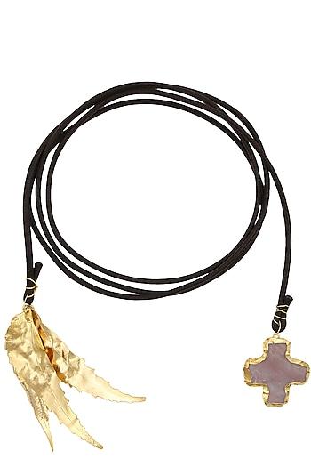 Gold Finish Long Autumn Lariat by Eurumme Jewellery