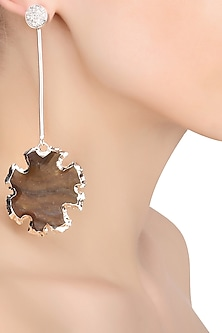 Silver Finish Earthen Glow Earrings by Eurumme Jewellery