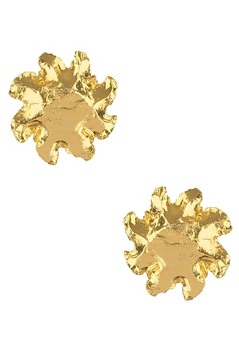 Gold Finish Glow Stud Earrings by Eurumme Jewellery