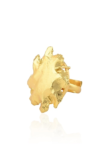 Gold Finish Chakra Glow Ring by Eurumme Jewellery