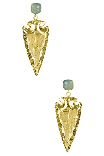 Gold Finish Green Eurumme Signature Earrings by Eurumme Jewellery