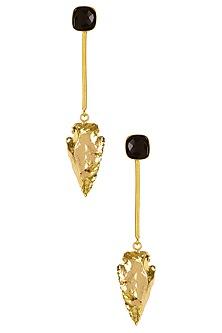 Gold Finish Black Eirene Earrings by Eurumme Jewellery