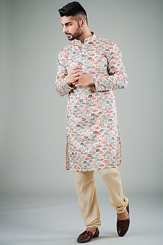 Multi Colored Printed Kurta Set by Eleven Brothers