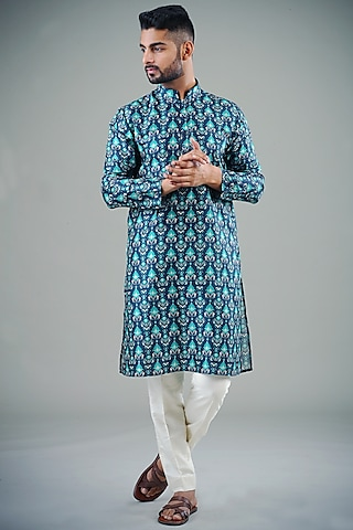 Blue Printed Kurta Set  by Eleven Brothers