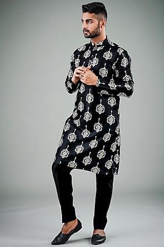 Black Printed Silk Kurta Set by Eleven Brothers
