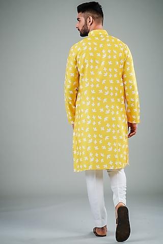 Yellow & White Printed Kurta Set by Eleven Brothers