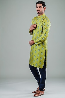 Green & Blue Printed Kurta Set by Eleven Brothers