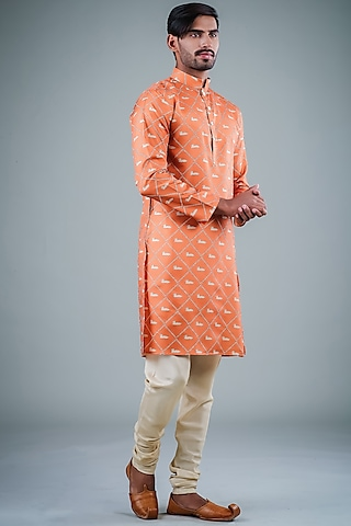 Orange & Beige Printed Kurta Set by Eleven Brothers
