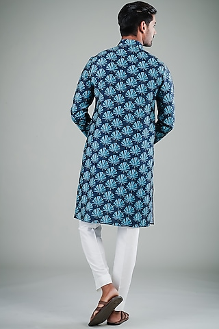 Midnight Blue & White Printed Kurta Set by Eleven Brothers