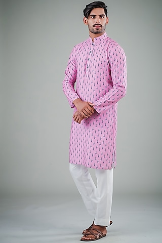 Pink & White Printed Kurta Set by Eleven Brothers