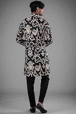 Black Printed Tussar Silk Kurta Set by Eleven Brothers