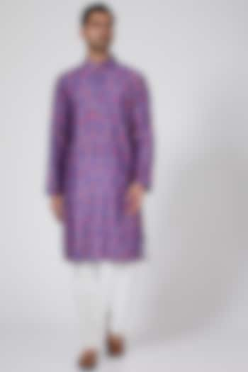 Purple Handcrafted Printed Kurta Set by Eleven Brothers