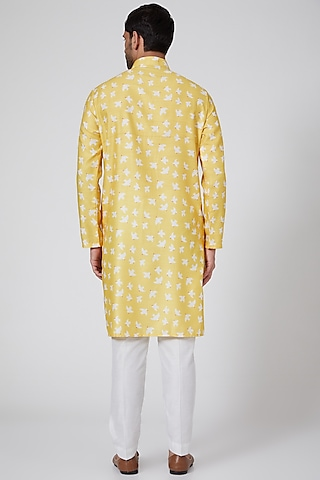 Yellow Handcrafted Printed Kurta Set by Eleven Brothers