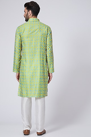 Yellow Digital Printed Handcrafted Kurta Set by Eleven Brothers