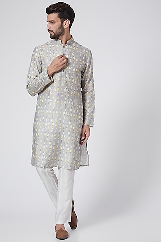 Grey Digital Printed Handcrafted Kurta Set by Eleven Brothers