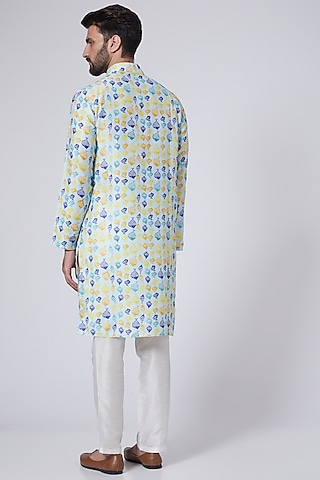 Sky Blue Digital Printed Handcrafted Kurta Set by Eleven Brothers