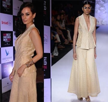 Flesh embroided silk jacket with flared pants by Anita Dongre