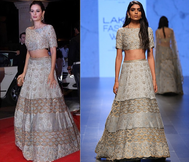 Powder Blue Pearl Off Shoulder Choli with Embroidered Lehenga Skirt by Payal Singhal