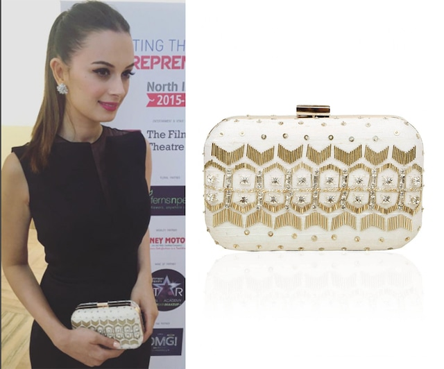 "White ""Fairytale"" Sequins Embellished Box Clutch by Vian"